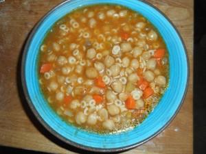 chickpea soup, salad, bread 016