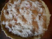 rhubarb pie, ginger stir fry, salmon with peas 042