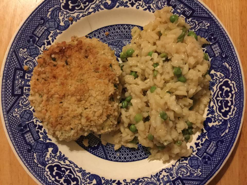 seafood cake with risotto