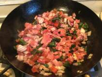swiss chard in pan