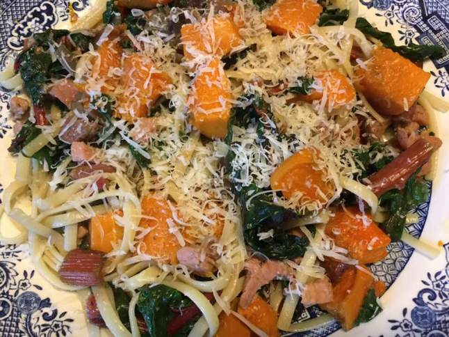 swiss chard pasta plated