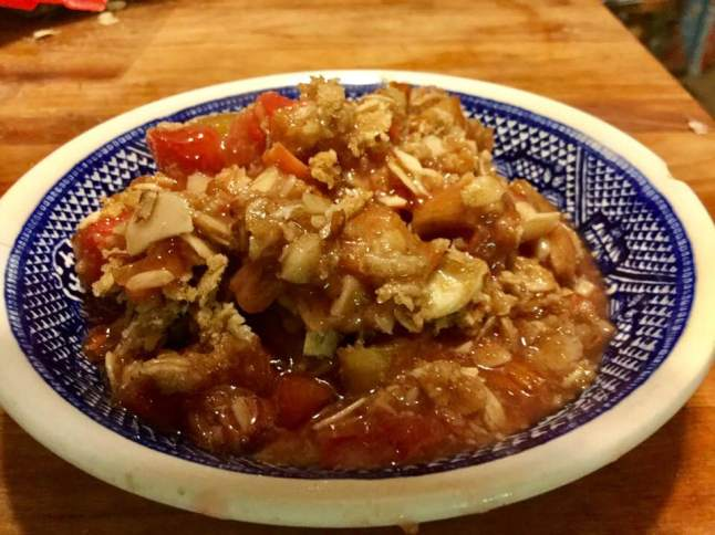 rhubarb crisp in dish