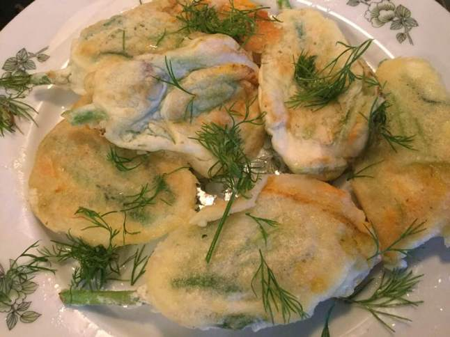 squash blossoms on plate