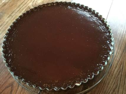 Chocolate silk tart ready for embellishment and devouring!