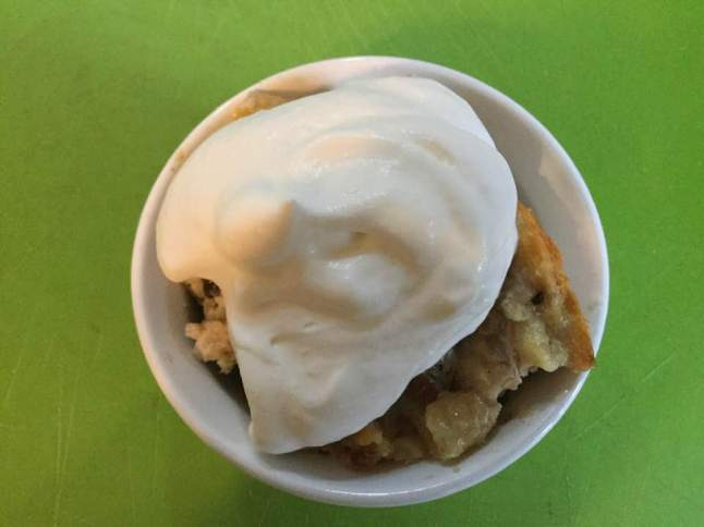 bread pudding with cream