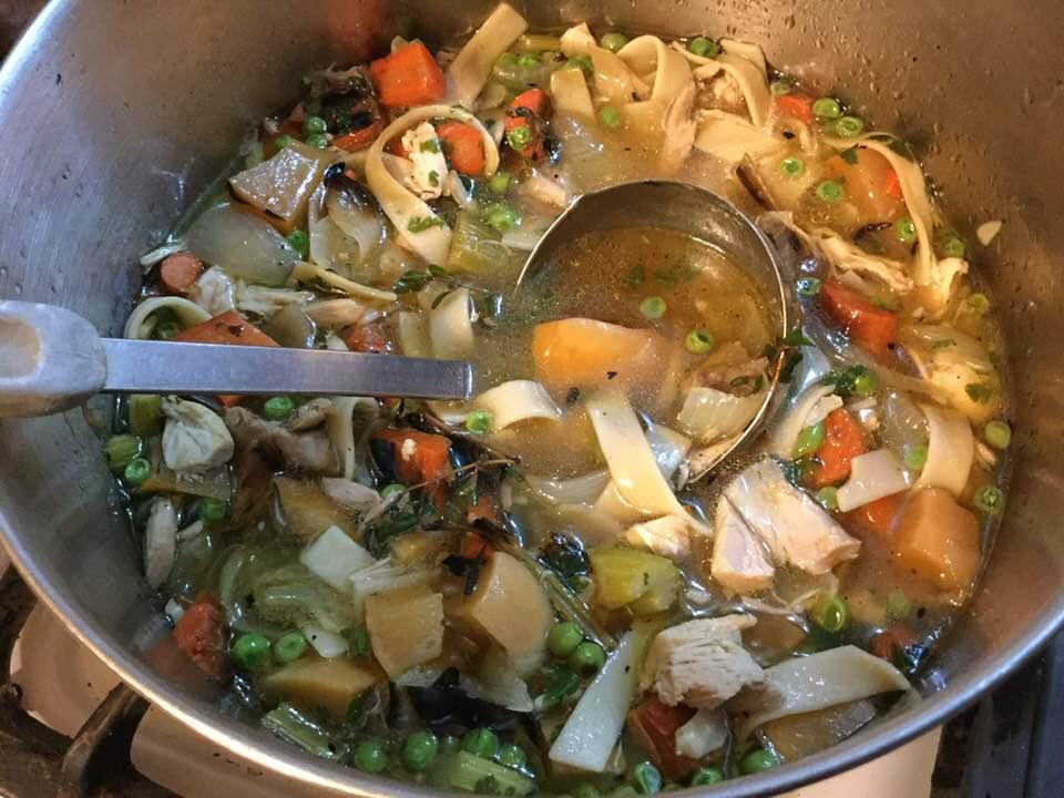 roasty chicken soup in pot