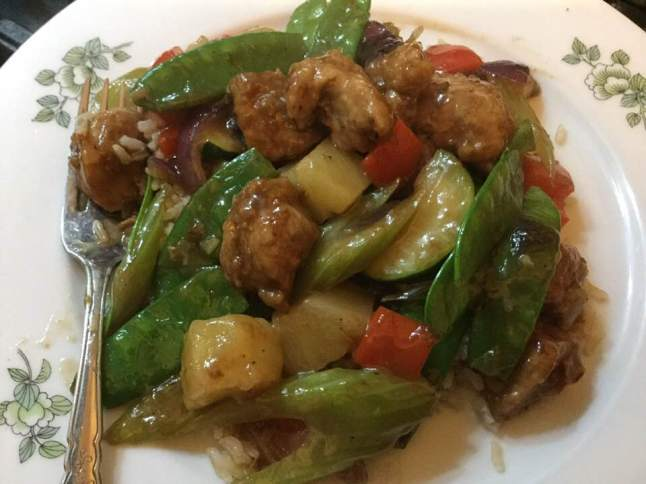 sweet and sour pork on plate
