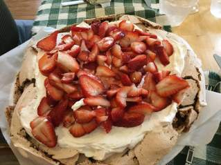 Chocolate pavlova: if you can make meringue in your mixer you can make this awesome company dessert.