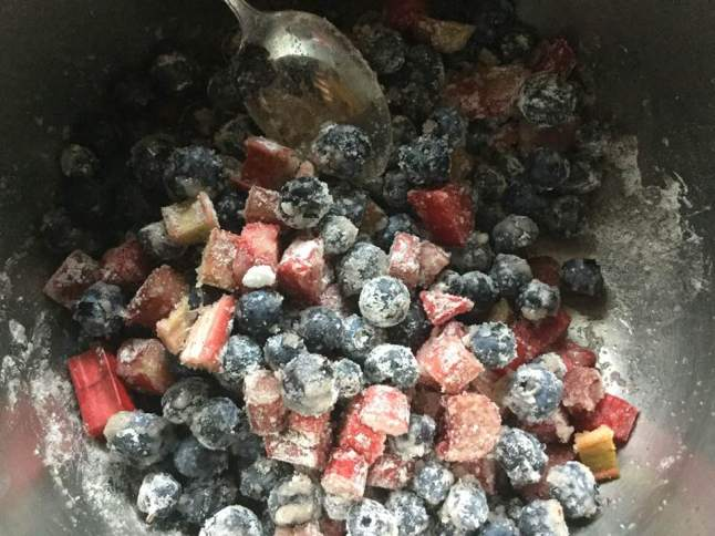 blueberries, rhubarb and tap starch