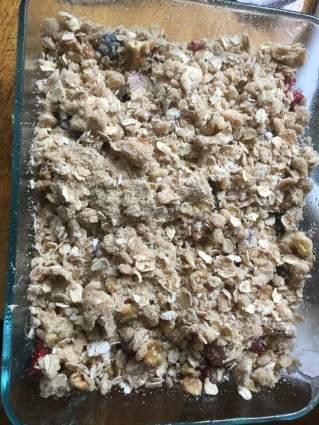 blueberry rhubarb crisp ready to bake