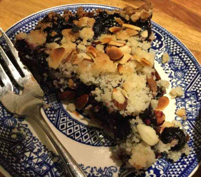 blueberry tart, slice , cookie crust