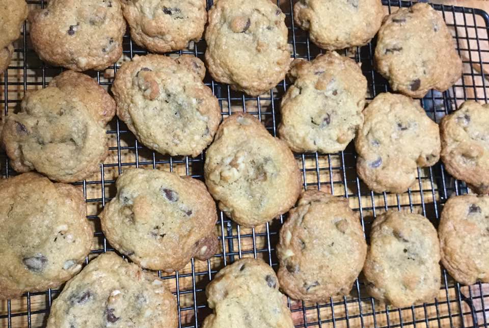 chocolate chip cookies on rack